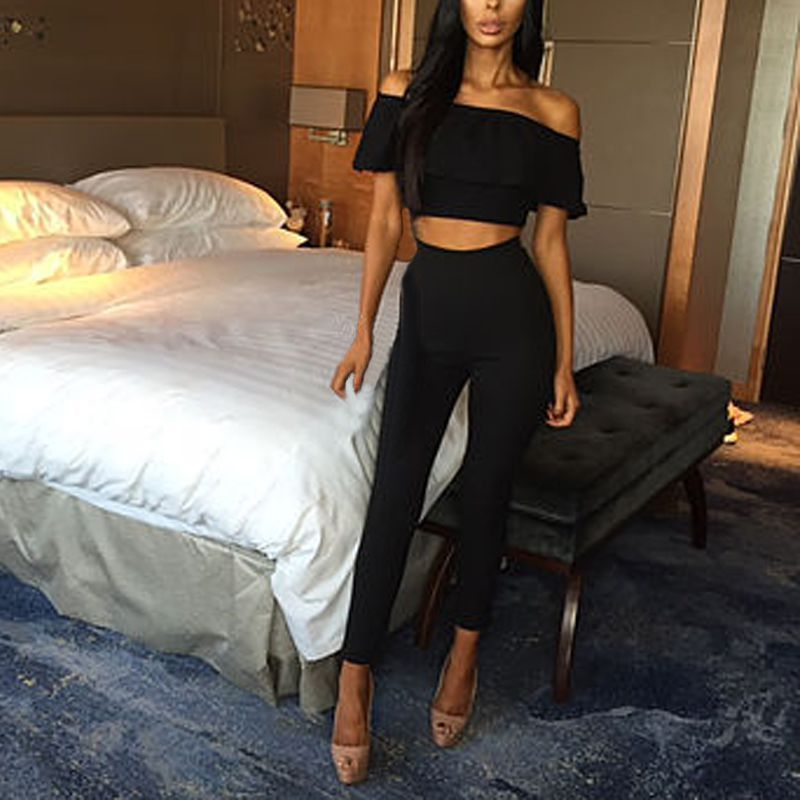 Sexy Women Crop Tops+Long Pants Two-piece Set Bodysuit Casual Outfits Romper S72