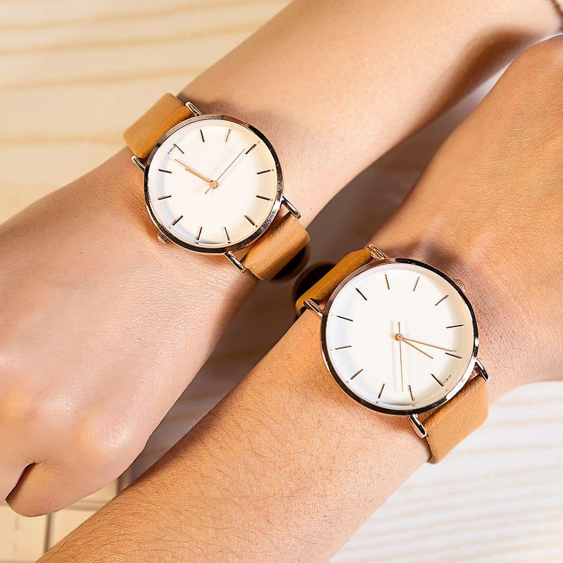 Marca de lujo simple face relojes para hombres y mujeres moda Delgado Slim cuero cuarzo reloj pareja amante reloj impermeable
