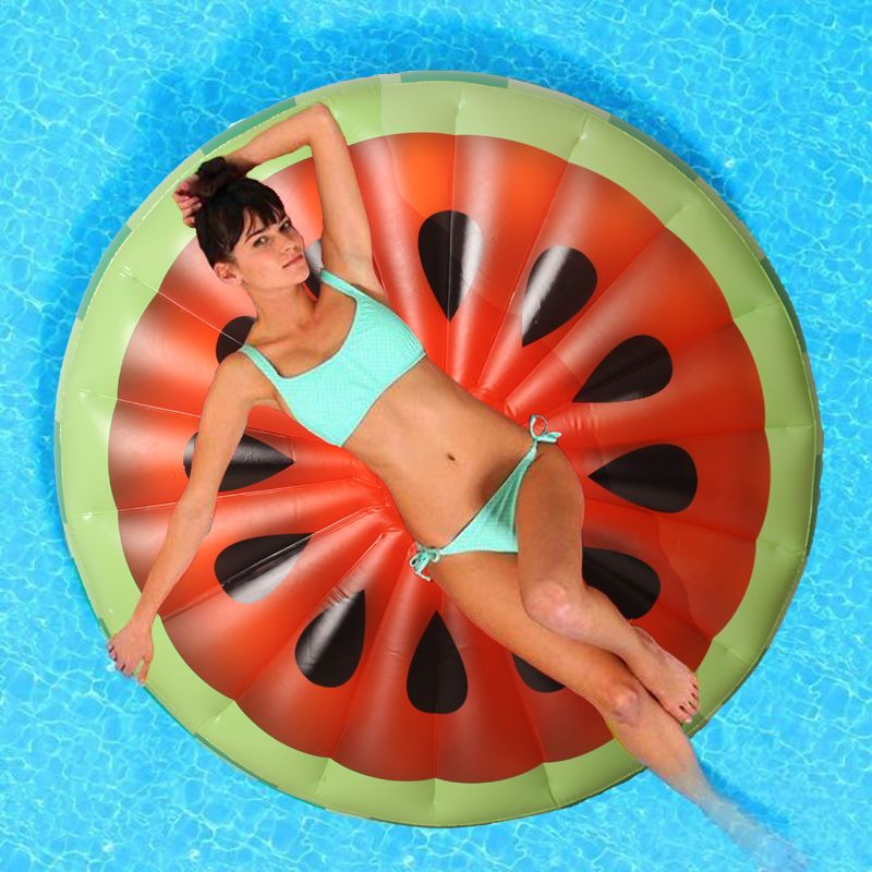 160*160cm Inflatable Watermelon Slice Float Pool Water Sports Inflatable Fruit Swimming Ring Floating Raft Leisure Floating Bed