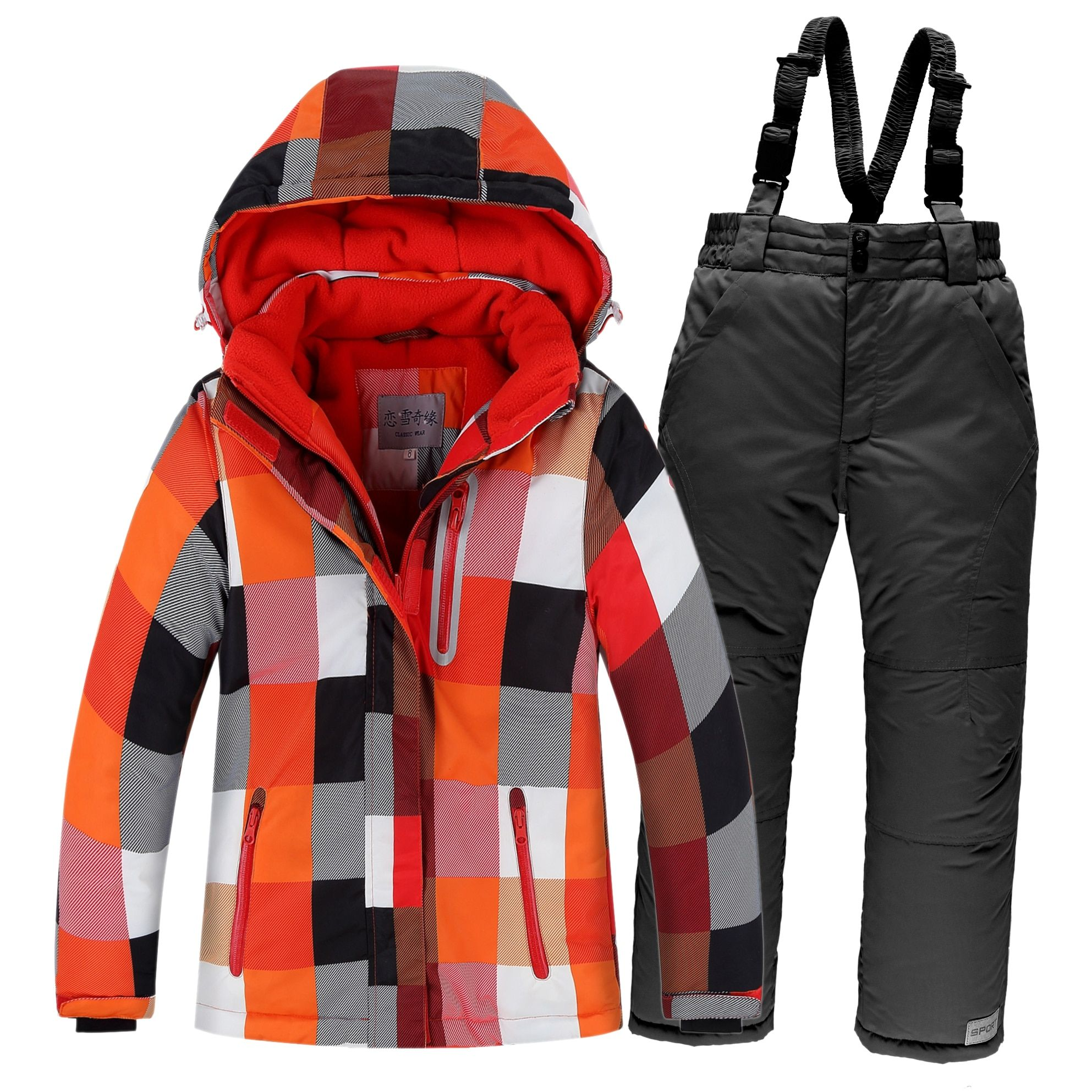 OLEKID Winter Children Ski Suit Windproof Warm <font><b>Girls</b></font> Clothing Set Jacket + Overalls Boys Clothes Set 3-16 Years Kids Snow Suits