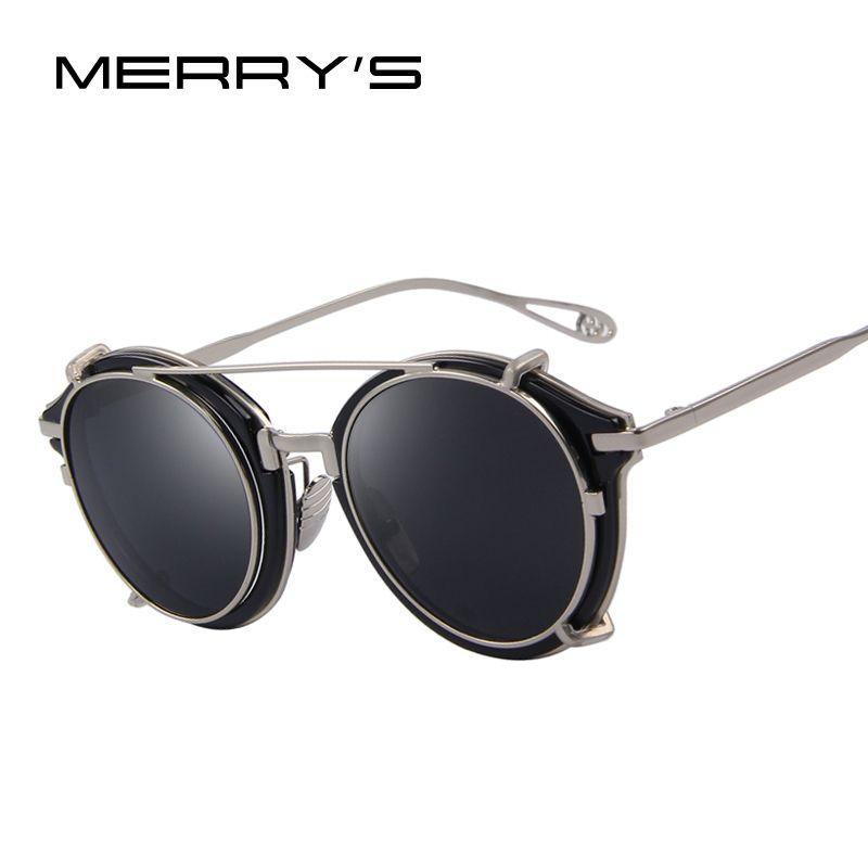 MERRY'S Women Steampunk Round Sunglasses Flip Separable Lens Mirror lens/Clear lens Vintage Glasses UV400