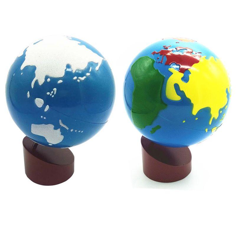 Bébé jouets Montessori terre Globe plastique et bois matériel apprendre à connaître le monde enfants premiers apprentissages aides pédagogiques