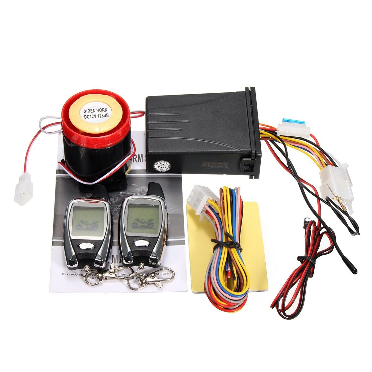 LCD 2 Way Motorcycle Alarm Remote Control Engine Start Security Anti-theft System