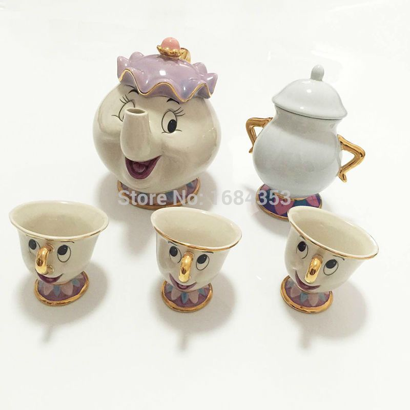 Hot sale Cartoon Beauty And The Beast Tea Set Mrs Potts Teapot Chip Cup Sugar Bowl Pot Set Coffee Kettle Birthday Xmas Gift