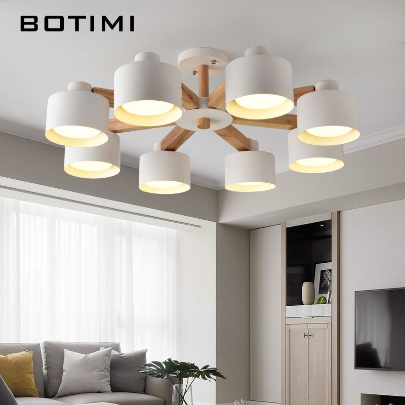 BOTIMI Nordic LED Chandelier With Iron Lampshade For Living Room 220V Modern Wooden Lustres Wood Foyer Chandelier Lighting