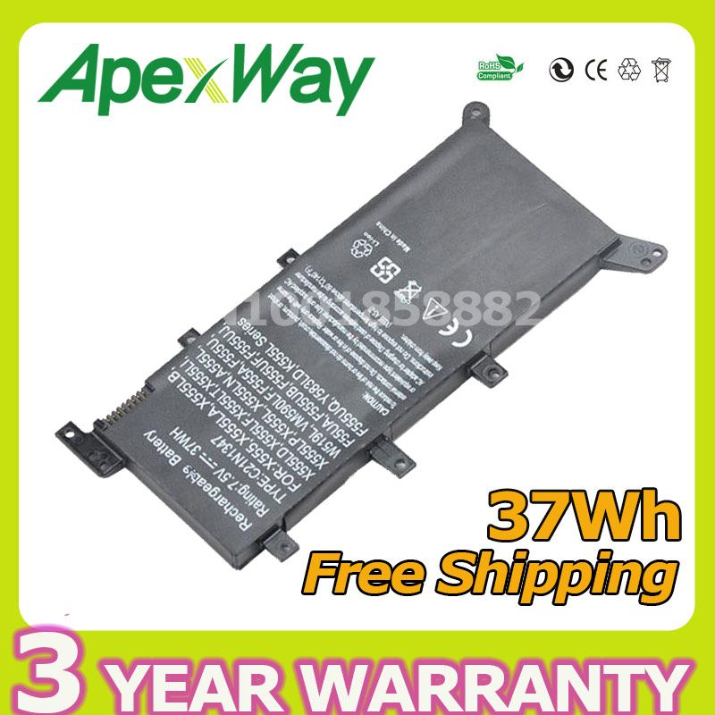 7.5V 37Wh New Battery C21N1347 Laptop Battery For ASUS X555 X555LD F555A X555L X555LB X555LN F555U W519L X555LF X555LP F555UA VM