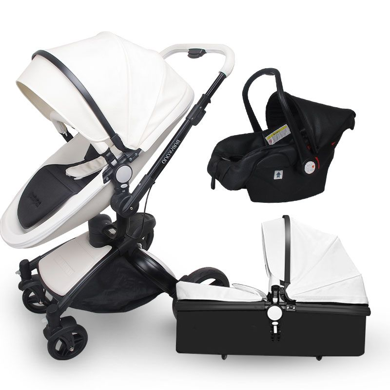 Babyfond high quality leather baby car baby stroller 3 in 1 baby carriage 2 in 1 baby stroller Aluminum alloy frame