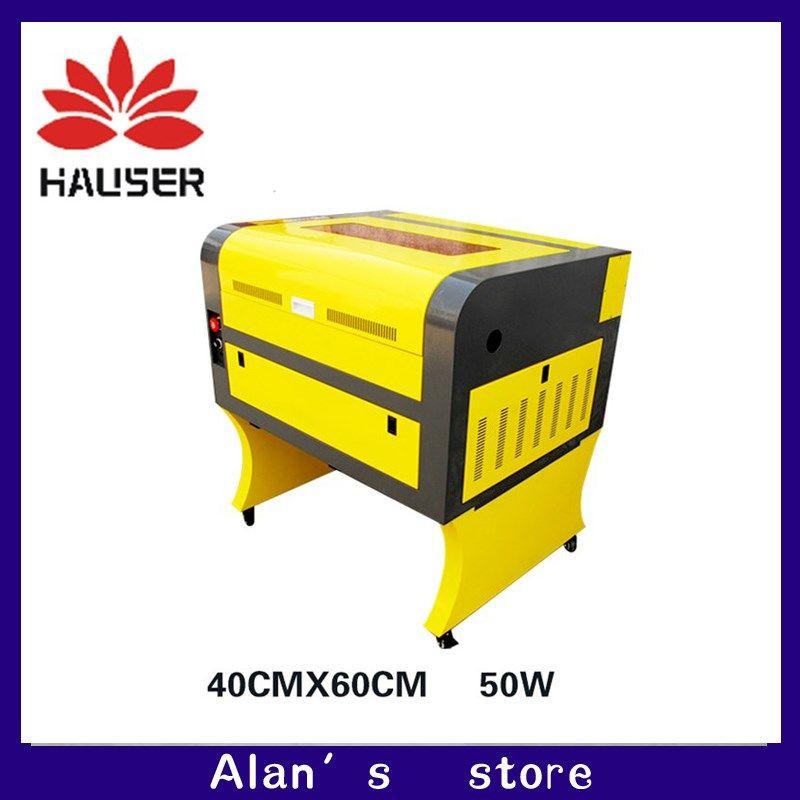 Freies verschiffen 50 watt 4060 co2 laser graviermaschine, 220 v/100 v laser schneidemaschine CNC, hohe konfiguration laserengraver