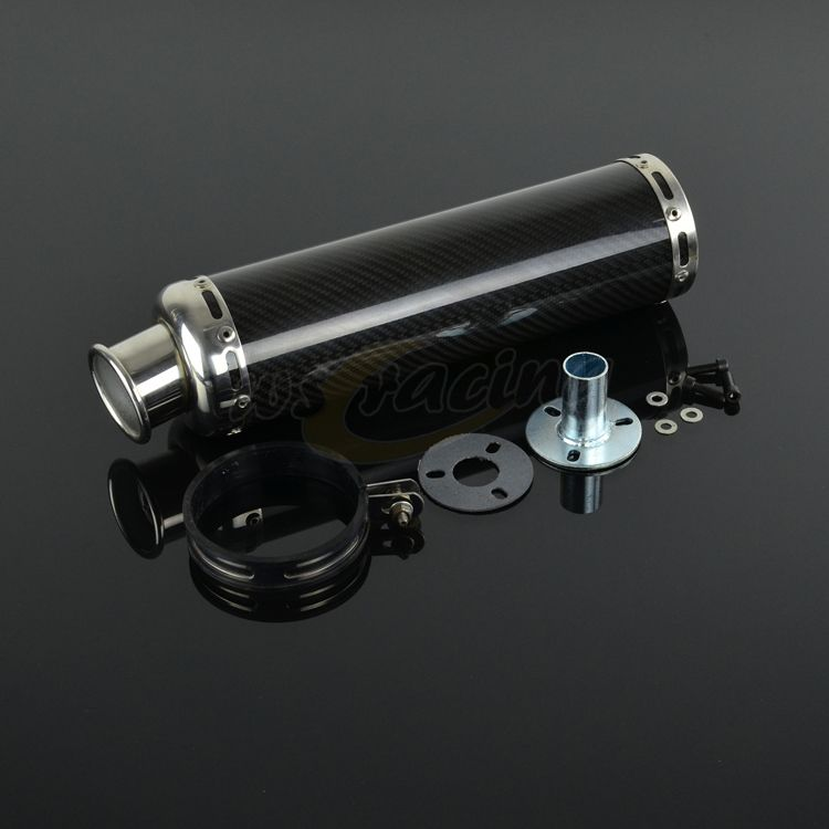 AK Aluminum And Carbon Fiber Exhaust Muffler Pipe Slip on for Scooter ATV Street Bike Scooter Pit Bike