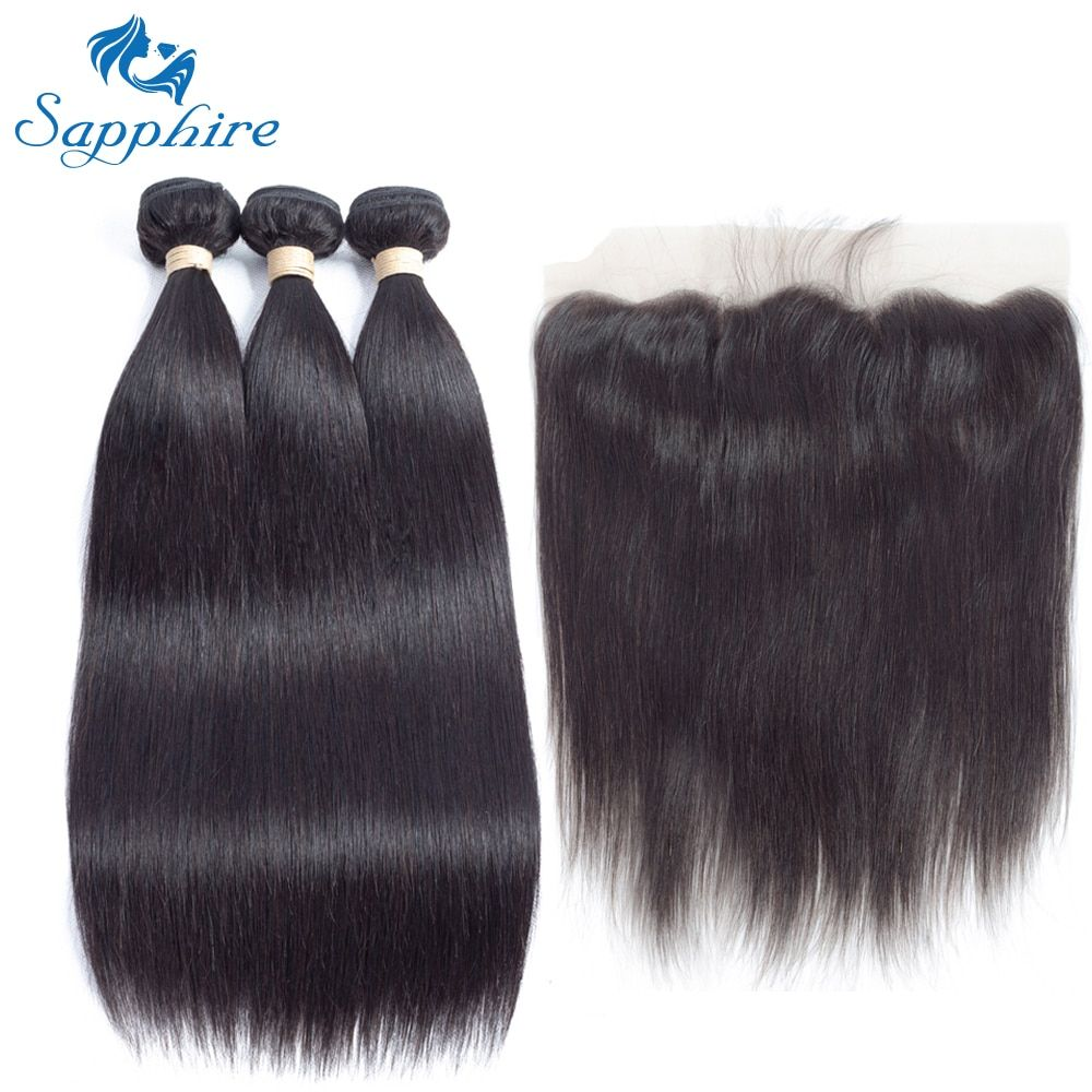 Sapphire Remy Hair Malaysian Human Hair Weave 2/3 Bundles With 13x4 Lace Frontal Straight Human Hair Bundles With Closure Salon
