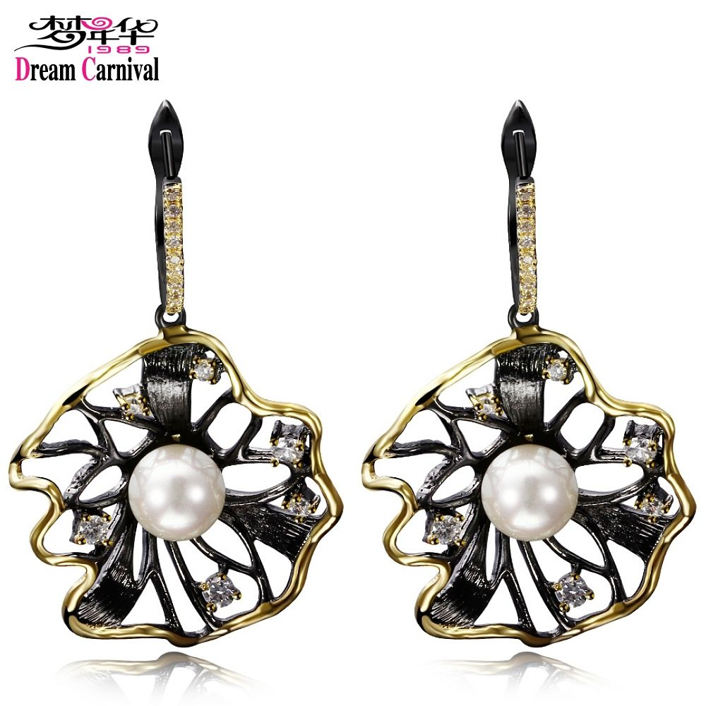 DreamCarnival 1989 Lotus Flower Earrings Hollow Created Pearl CZ Black <font><b>Gold</b></font> Color Hip Hop Pendientes tipo gota Parties Jewelries