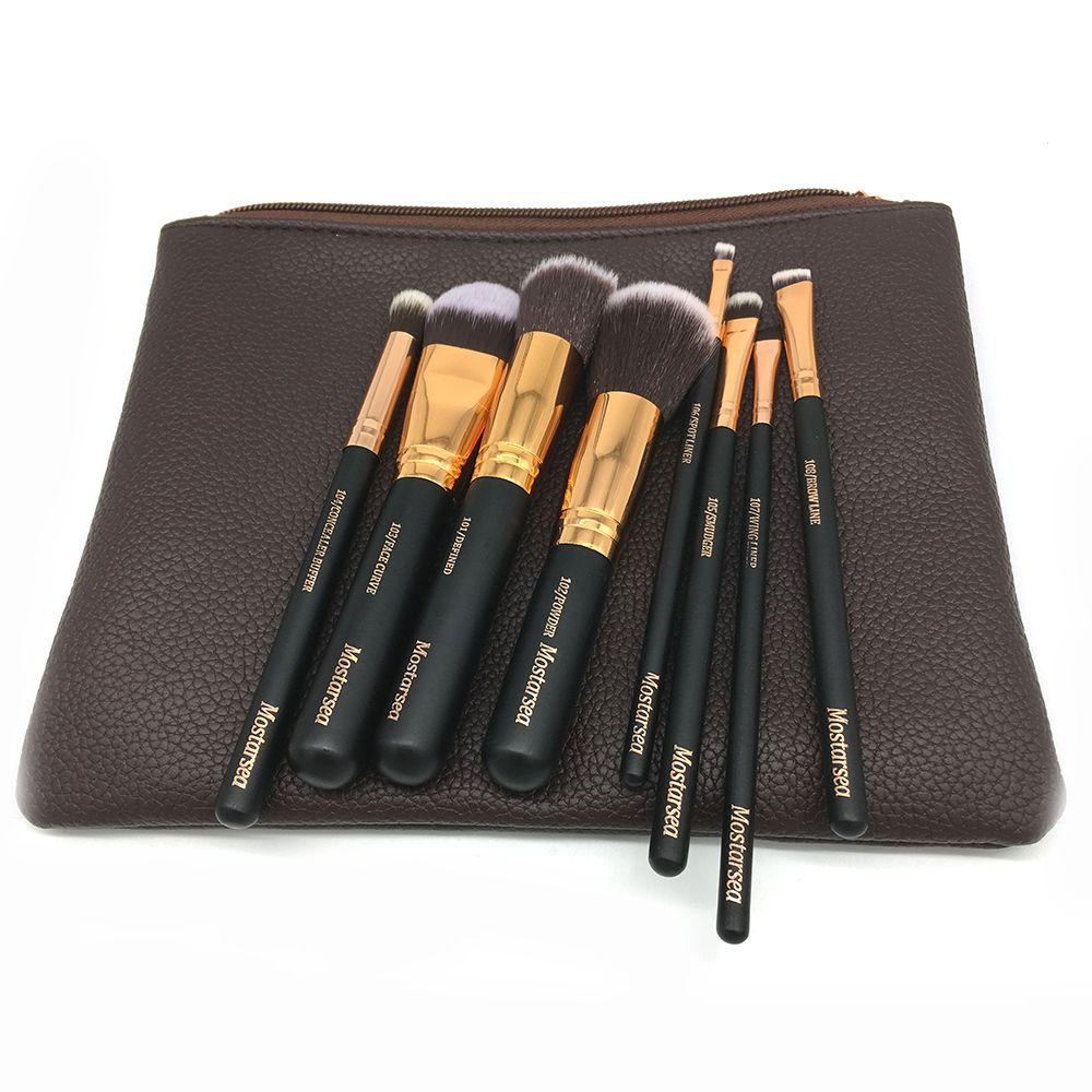 Marca profesional maquillaje pinceles set completo de lujo herramienta cosmética 8 oro rosa Kit de cepillo de mezcla más bolsa de cuero