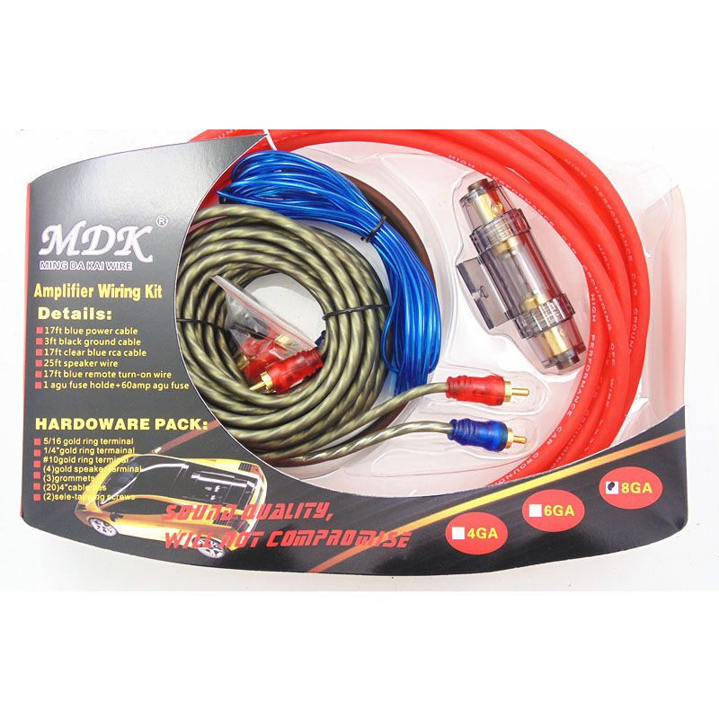 Amplifier Subwoofer Speaker Installation 8GA 5m Power Cable 1500W AMP Fuse Holder Car Audio Speakers Wiring Kits Cable 60A