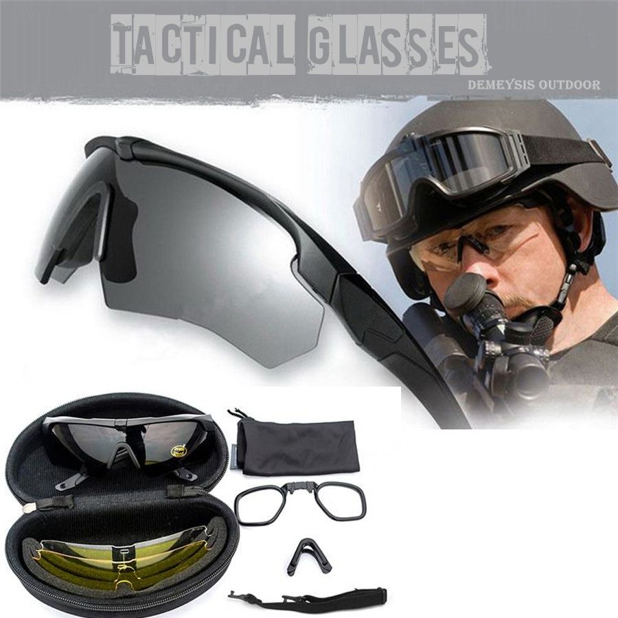 US Tactical Military Goggles, Ballistic 3 Lenses, Army Sunglasses with Original Logo, Men's Tactical Glasses Eyeshield