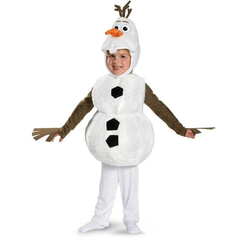Confortable Deluxe En Peluche Adorable Enfant Olaf Halloween Costume Pour Enfant En Bas Âge Enfants de Dessin Animé Préféré Film Bonhomme De Neige Parti Robe-up 18m-7y