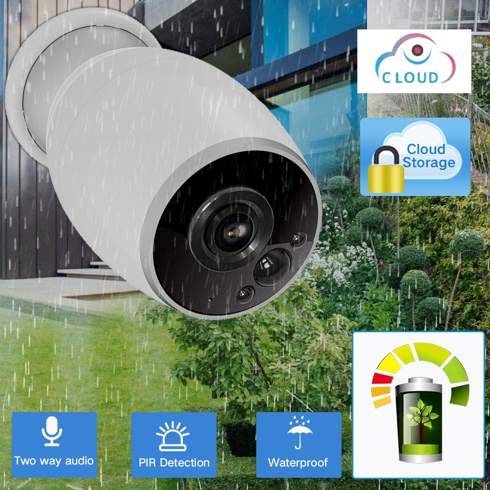 SDETER Rechargeable Battery Powered Wifi Camera IP 720P Outdoor Weatherproof IP64 CCTV Security Camera Two Way Audio PIR Sensor