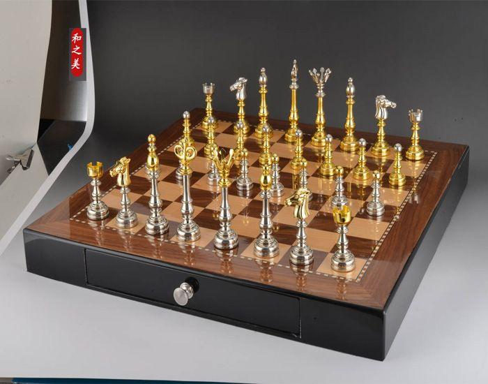 Высокое качество шахматы с-складной деревянный шахматная доска 50*50 см Размеры высокого класса Мебель украшения шахматы бесплатная доставк...