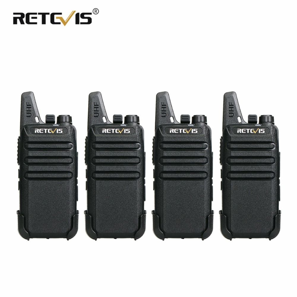 4 pcs Retevis RT22 Mini Walkie Talkie Radio 2W UHF VOX USB Charge Rechargeable Two Way Radio Station Walkie-Talkie Transceiver