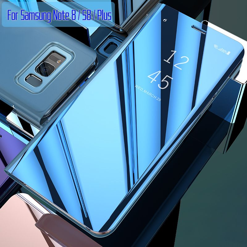 For Samsung Galaxy S8 Case Flip Cover Original Mirror Smart Chip <font><b>View</b></font> for Samsung S8 Plus Note 8 G950F G955F N950F Case Capa