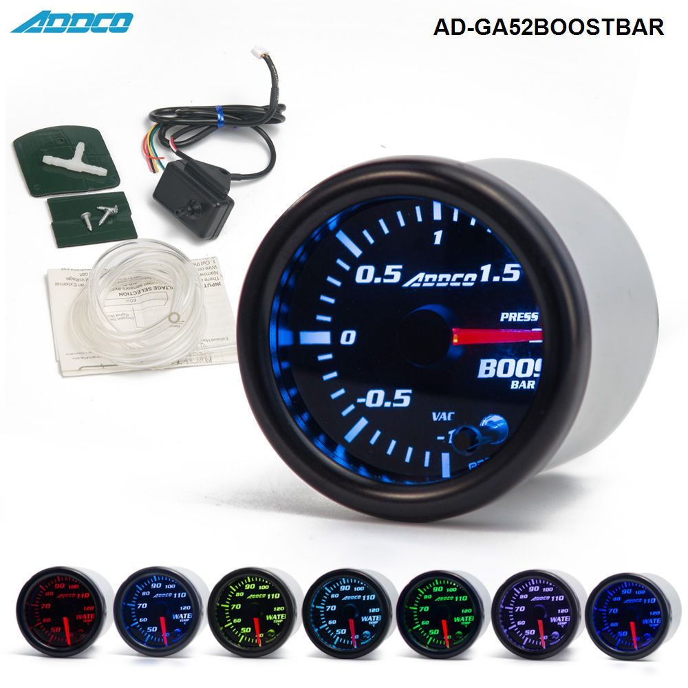 2 52mm 7 Color LED Smoke Face Car Auto Bar Turbo Boost Gauge Meter With Sensor and Holder AD-GA52BOOSTBAR