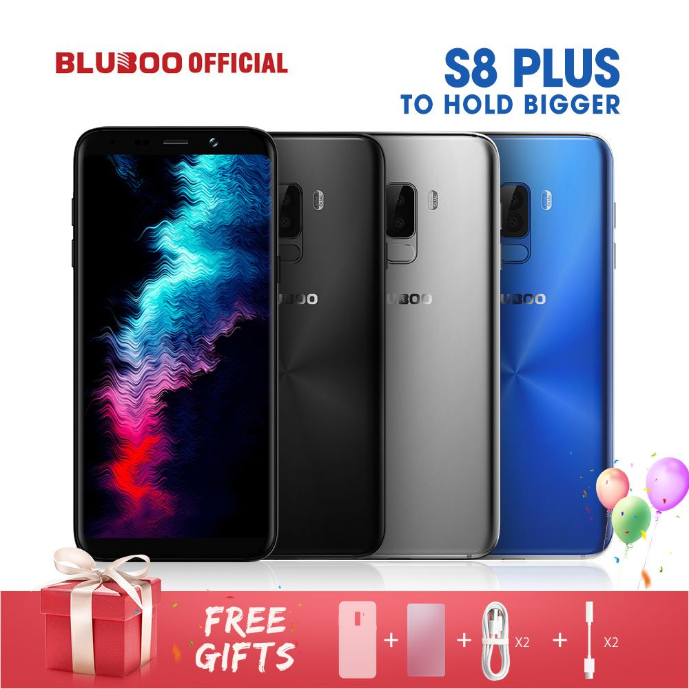 BLUBOO S8 Plus 18:9 Screen 6.0'' Mobile Phone MTK6750T Octa Core 4G RAM 64G ROM 360 OS Dual Back Camera Fingerprint Smartphone