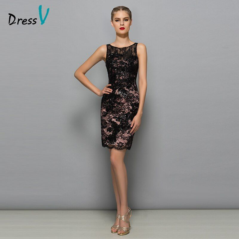 Dressv 2017 sexy black lace cocktail dress mini sleeveless scoop neck sequin lace short modern formal gown cocktail dress