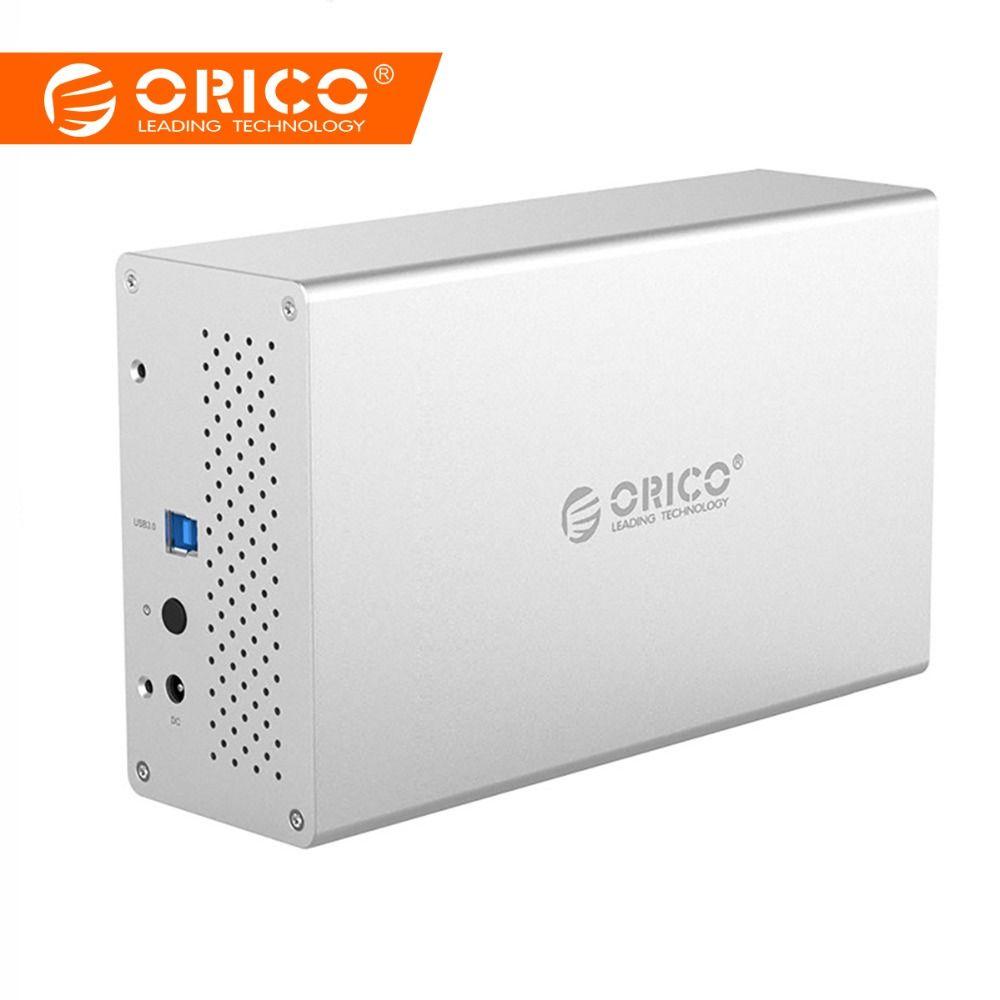 ORICO HDD Gehäuse Dual Bay 3,5 zoll SATA zu USB3.0 5 Gbps Aluminium HDD Fall Externe Festplatte Adapter Box USB Docking Station
