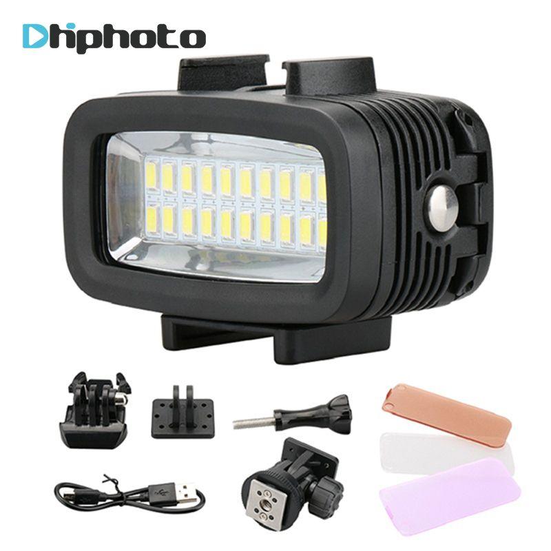 20 Underwater 5500K LED Video Light 40M 130ft Diving Gopro Lighting Fill in Lamp 700LM for GoPro Hero 6/5/4 SJCAM Yi DSLR Camera
