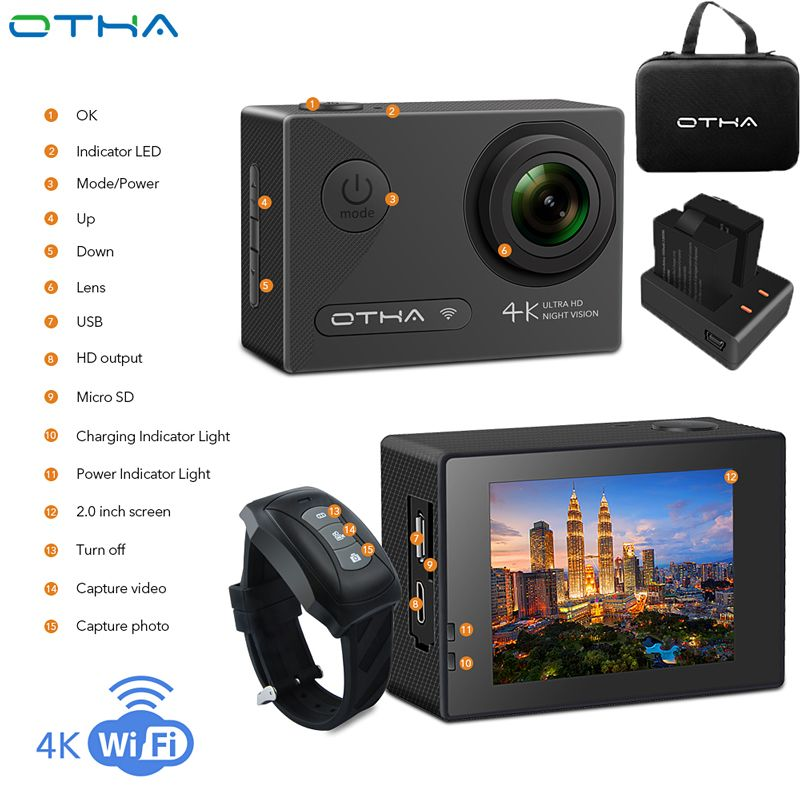 OTHA Action Camera Ultra HD 4K Video Camera Night Version DV Waterproof WiFi 1080P Underwater Sports Camera with Remote Control