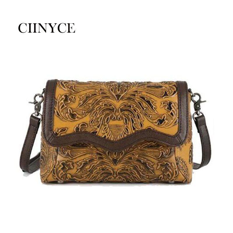 Hohe qualität Chinesische element Echtem leder frauen mode Vintage handtaschen retro Floral casual dame Kreuz körper Messenger Taschen