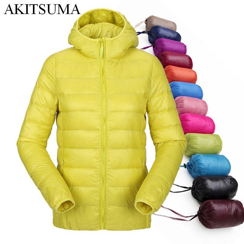 women <font><b>ultra</b></font> light down jacket hooded winter duck down jackets women slim long sleeve parka zipper coats 2017 AKITSUMA