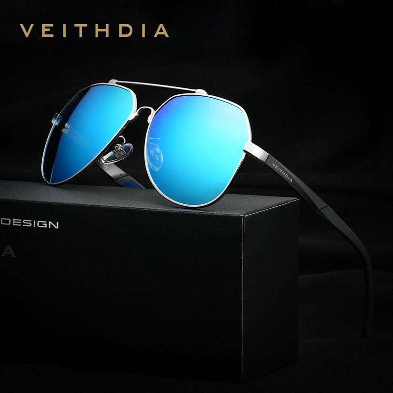 VEITHDIA <font><b>Brand</b></font> Men's Aluminum Magnesium Big Oversize Sunglasses Polarized Blue Lens Eyewear Sun Glasses For Men Male oculos 3598