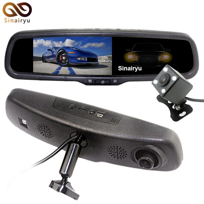 5.0 Inch 1080P Car Rear View Camera with Monitor Car DVR Video Recorder Rearview Mirror Monitor Auto Dimming Parking Monitoring