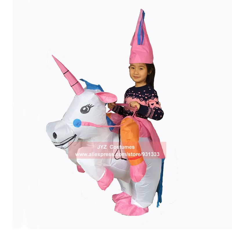 JYZCOS Inflatable Unicorn Costumes for Kids Women Adult Halloween T-Rex Dinosaur Cowboy Duck Pokemon Pikachu Suit Purim Cosplay