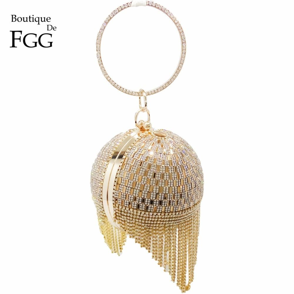 <font><b>Golden</b></font> Diamond Tassel Women Party Metal Crystal Clutches Evening Bags Wedding Bag Bridal Shoulder Handbag Wristlets Clutch Purse