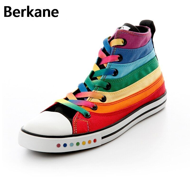 Colorfull Rainbow Canvas Women Shoes 2018 High Top Fashion Female Flat Casual Shoes Sapatas De Lona Tenis Feminino Quality Hot