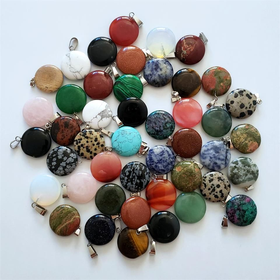 Wholesale 50pcs Fashion natural stones round pendants for jewelry making Good Quality charm Necklace accessories Free shipping
