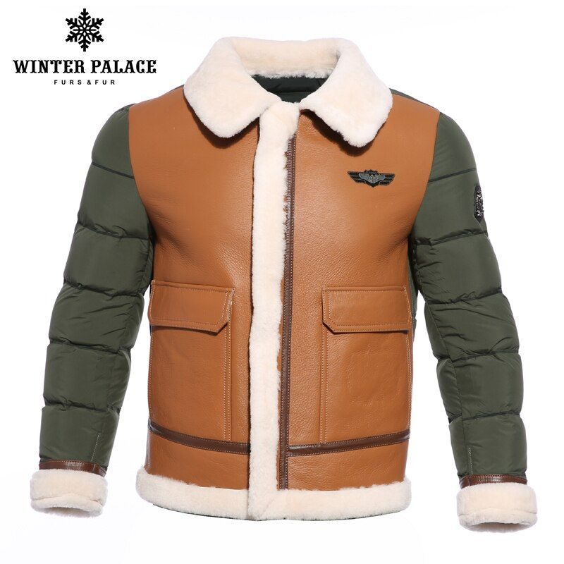 2018 Suit collar winter jacket men Multicolor duck down jacket men Brands sheepskin coat Young style mens bomber jackets