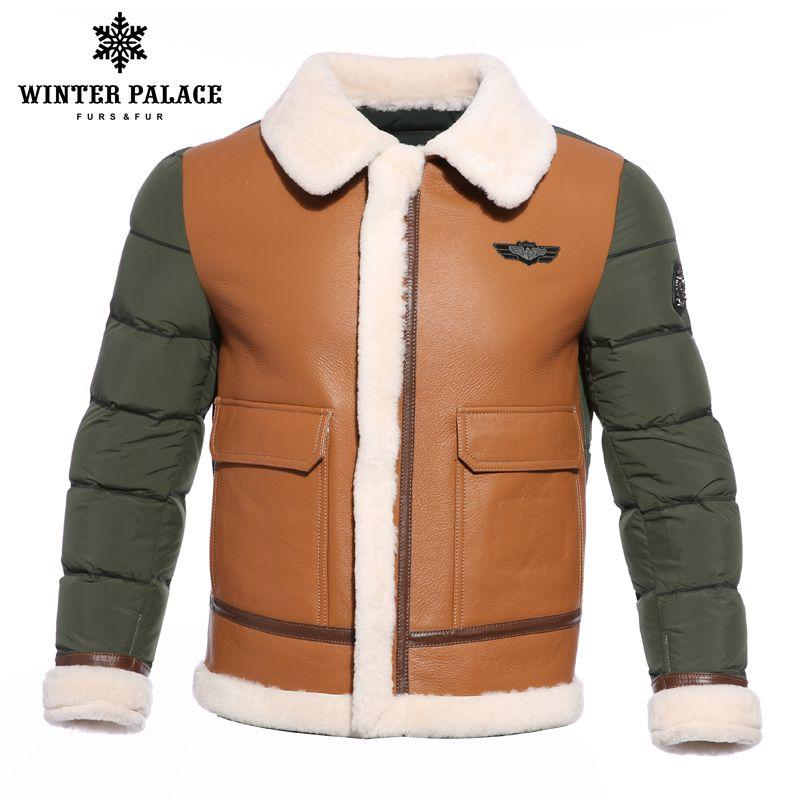 2018 anzug kragen winter jacke männer Multicolor ente unten jacke männer Marken schaffell mantel Junges stil herren bomber jacken