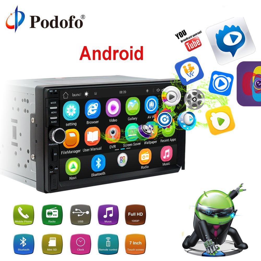 Podofo Android Auto Radio 2Din GPS Navigation Bluetooth 7