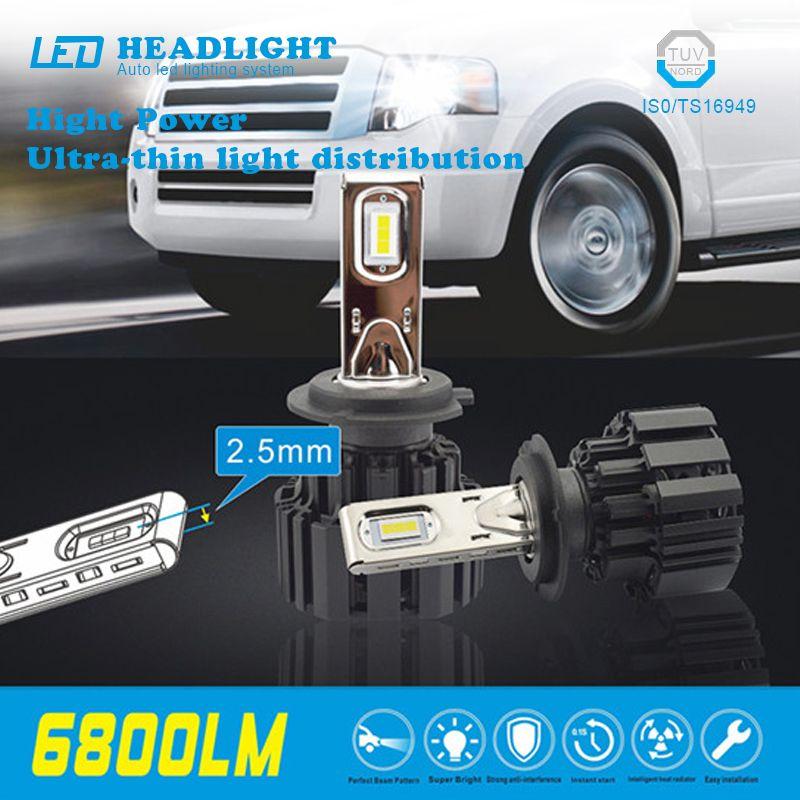 2Pcs H4 H7 LED Car Headlights Beads Ultra-thin Super Heat Dissipation P9 Car LED Daytime Running Lamp Bulbs h4 led car-styling