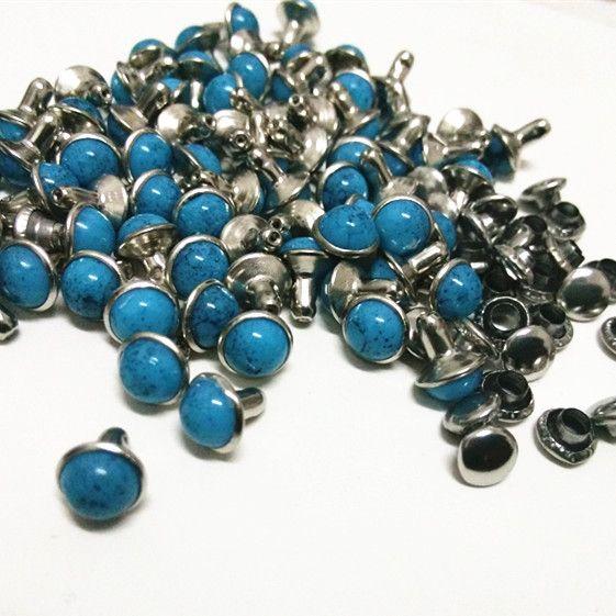 Vente chaude DIY100PCS 7mm accessoires bleu Turquoise fissure Rivets cuir artisanat Punk goujons livraison gratuite