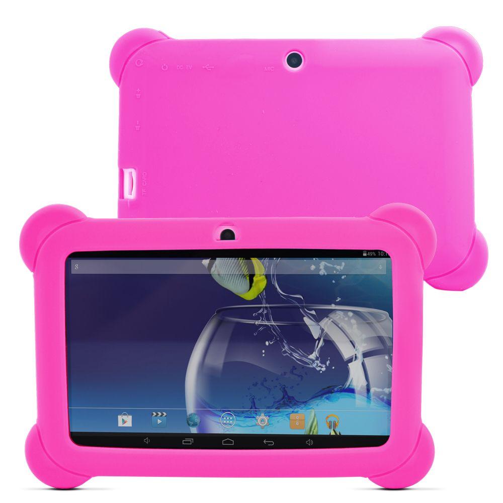 Yuntab 7 pouces Q88 Allwinner A33 Quad Core 512 mo/8 GB Android 4.4 enfants tablette PC Bluetooth double caméra avec coque en silicone