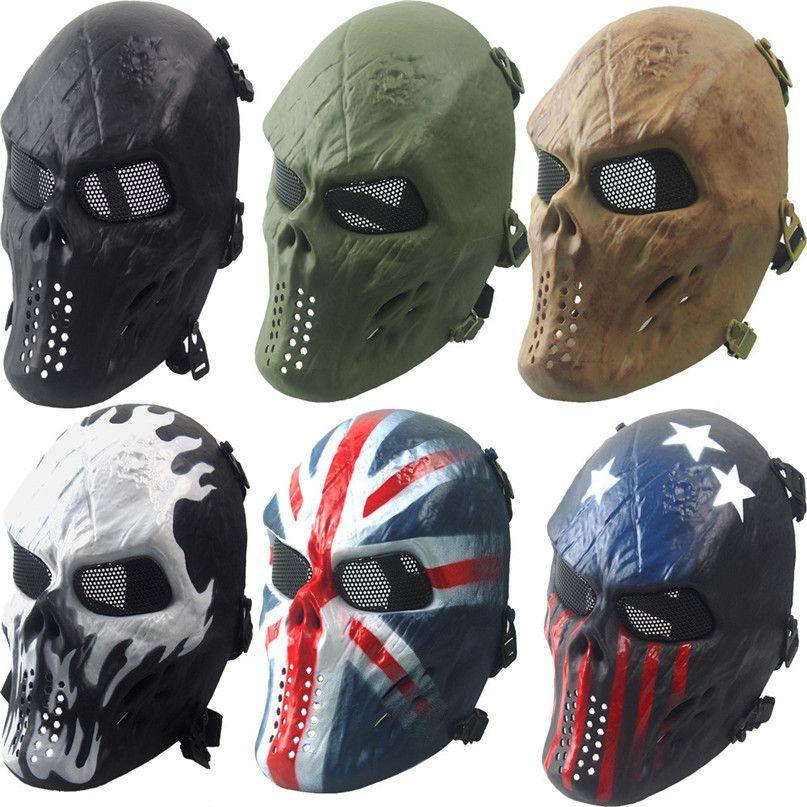 2017 Airsoft Paintball Vollgesichtsmaske Schädel Skeleton CS Maske Taktische Militärische Halloween