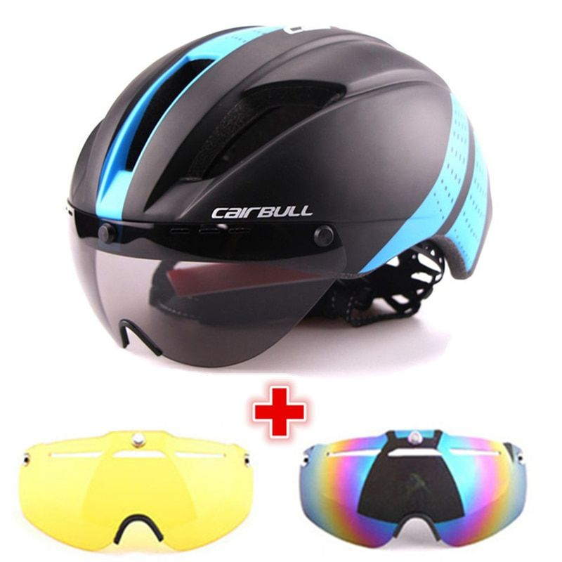 3 Lens Aero 280g Bicycle Helmet Magnetic Goggles Bike Sport Helmet Racing Speed Airo Time-Trial MTB Road TT Cycling Safty Helmet