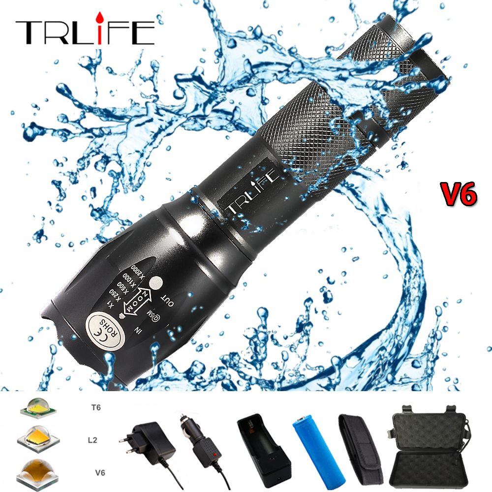 10000 Lums XP-L-V6 L2 LED Tactical Flashlight Led Torch Zoom LED Flashlight Waterproof Torch Light For AAA 18650 Rechargeable