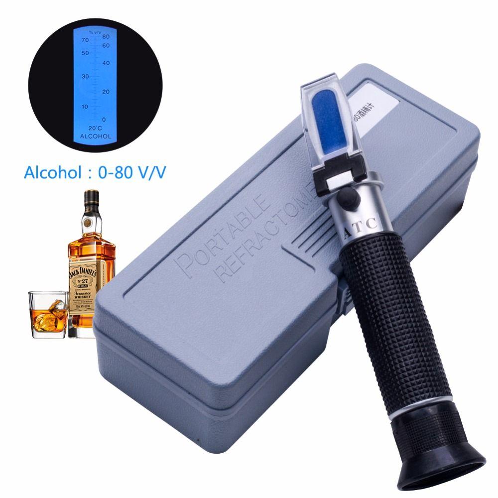 Détecteur de Concentration d'alcool yieryi de réfractomètre de compteur d'alcool d'alcool d'alcool réfractomètre 0-80% v/v alcoomètre oenomètre