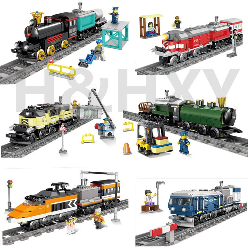 DHL IN STOCK H&HXY 98230-98235 02010 21005 21006 02039 02117 02118 Battery Powered Trains Building Block Sets model Toys gifts