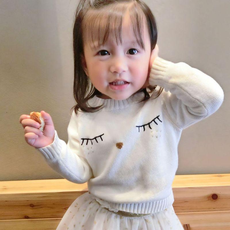 Mère et Fille Vêtements Blanc Cils Chandails Famille Correspondant Tenues Chandails pour Maman et Enfants Mode Cardigan Chandails