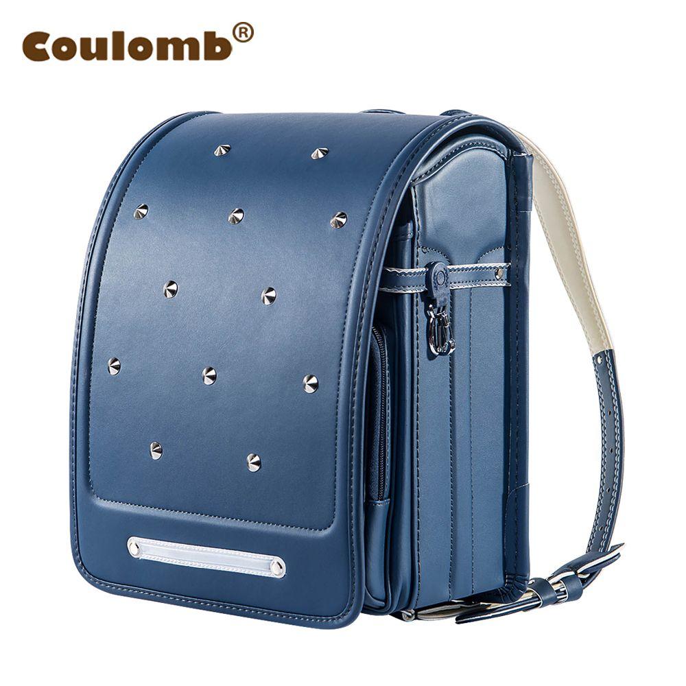 Coulomb Kid Backpack For Boys And Girl <font><b>School</b></font> Bag PU Rivets Hasp Randoseru Orthopedic Messenger Book Bags Japan Backpack